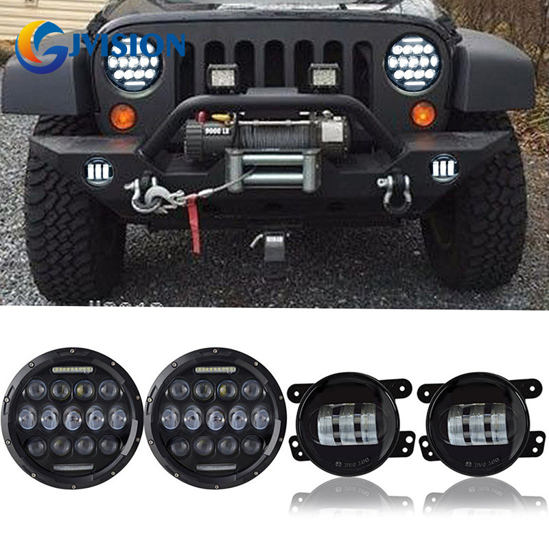 2PCS 7 INCH 75W LED Round Headlight Offroad car lamp DRL Hi/Lo Beam + 2 x 4'' led fog lights Combo Kit for Jeep Wrangler JK 1pcs 5 75 inch led motorcycle projector daymakers 5 75 inch headlight for harleys dyan h4 hi lo beam lights lamp bulb angle eye