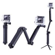 2016 New Model  Collapsible Three Manner Selfie Monopod Mount Digital camera Grip Extension Arm Tripod for Gopro Hero four 2 Three Three+ 2 1 SJ4000