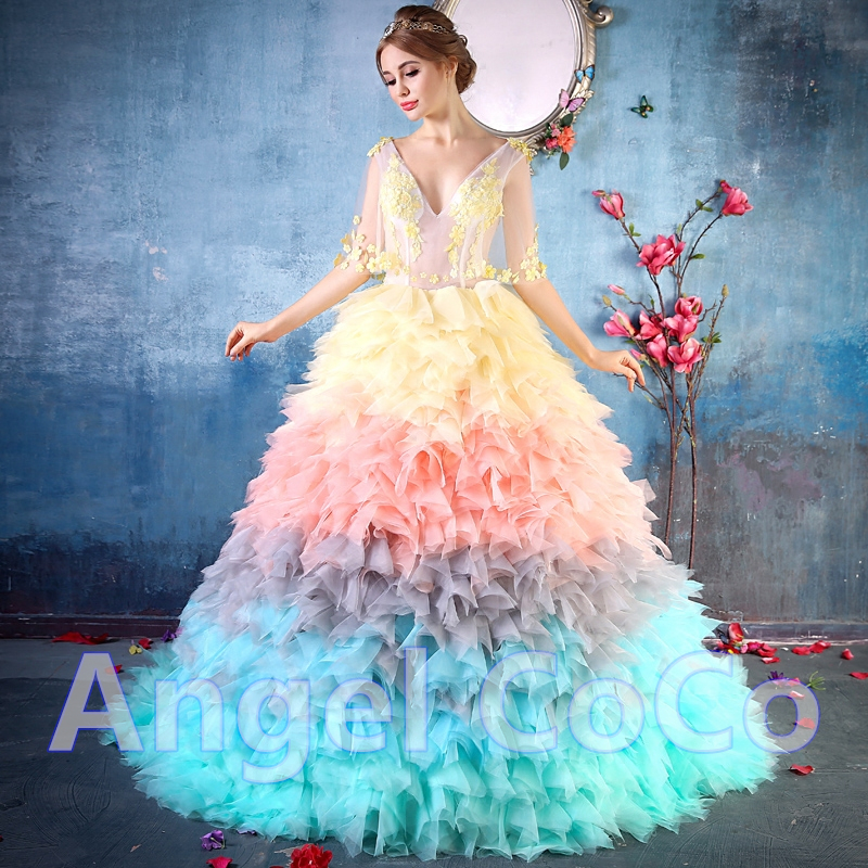 Luxury Wedding Dress Rainbow Bride Dresses Royal Train Vestido De ...