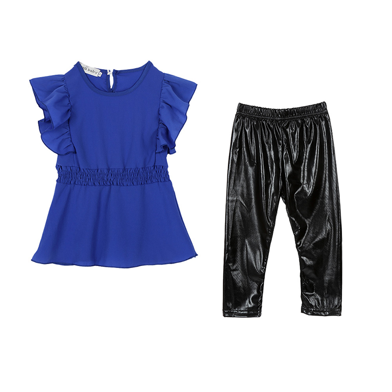 2018 Trendy Kid Girls Clothes Suit Blue Shirt Dress+Black Leggings Children Clothing Set ...