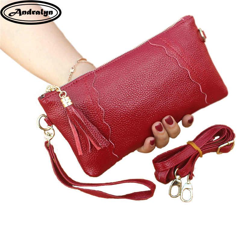 0327bf989181 Andralyn Новые повседневные женские клатчи из натуральной кожи на каждый  день модная женская простая сумка-