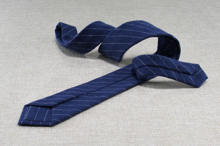 Mens Tie Narrow Version Cotton Linen Necktie