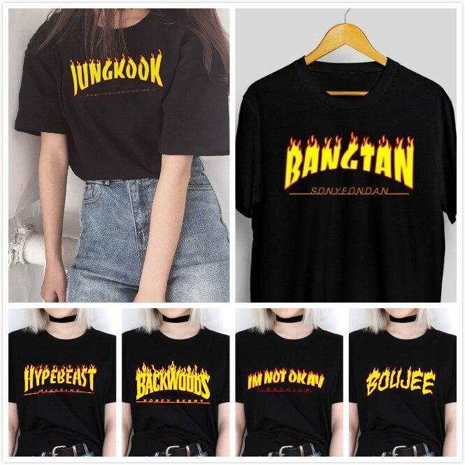 HAHAYULE-JBH Chama Gráfico Tee 2019 nova Moda de Verão 100% Algodão Casual t-shirt 90 s Moda Engraçado T-Shirt de Manga curta Legal