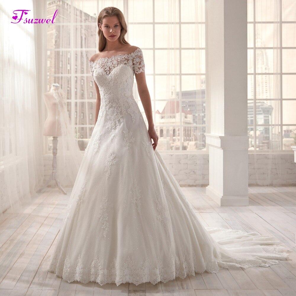 Fsuzwel Romantic Boat Neck Short Sleeve A-Line Wedding Dresses 2020 Luxury Court Train Appliques Princess Wedding Gown Plus Size