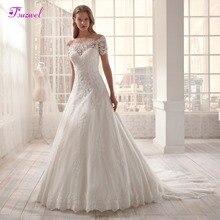 Fsuzwel Romantic Boat Neck Short Sleeve A Line Wedding Dresses 2020 Luxury Court Train Appliques Princess Wedding Gown Plus Size