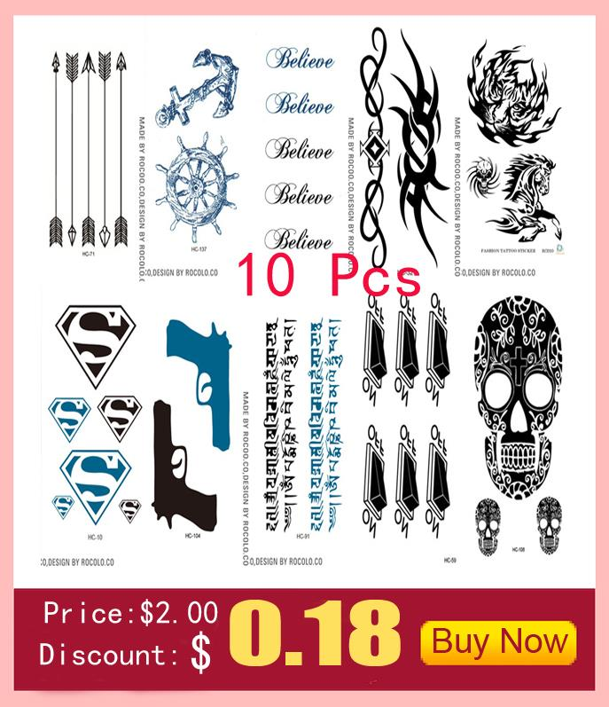 10 PCS Temporary Tattoo Stickers Temporary Body Art Supermodel Stencil Designs Waterproof Letters Gun Tattoo sleeve Pattern Cat 4