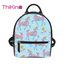 Thikin Women Poodle Pattern Backpack for Teen Girls Lady Mochila Mini  Leather Schoolbag Student Preppy Style Bag Girl Satchel preppy women s satchel with owl pattern and buckles design