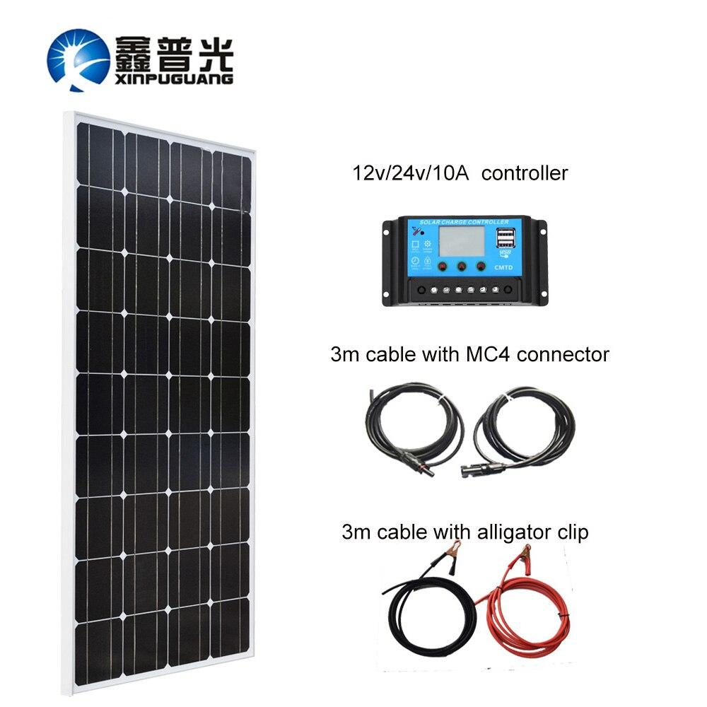100W 18V Sistema de Painel Solar Módulo Mono Célula De Silício para 10A 12V Carregador de Bateria de Alimentação USB Controlador MC4 Conector