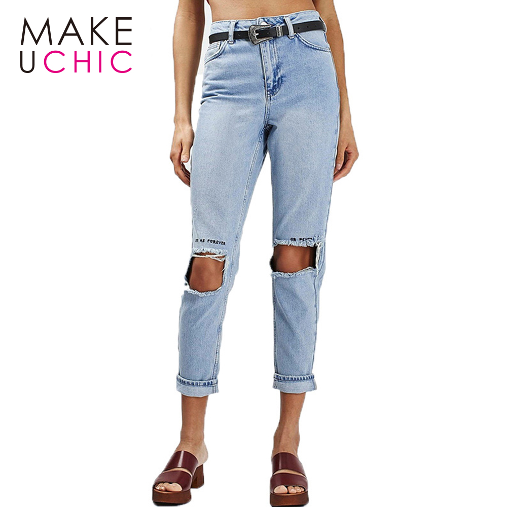 MAKEUCHIC Apparel Solid Blue Cotton Pants Letters Embroidery Distressed Wash Slim Jeans Casual Streetwear Zipper Fly
