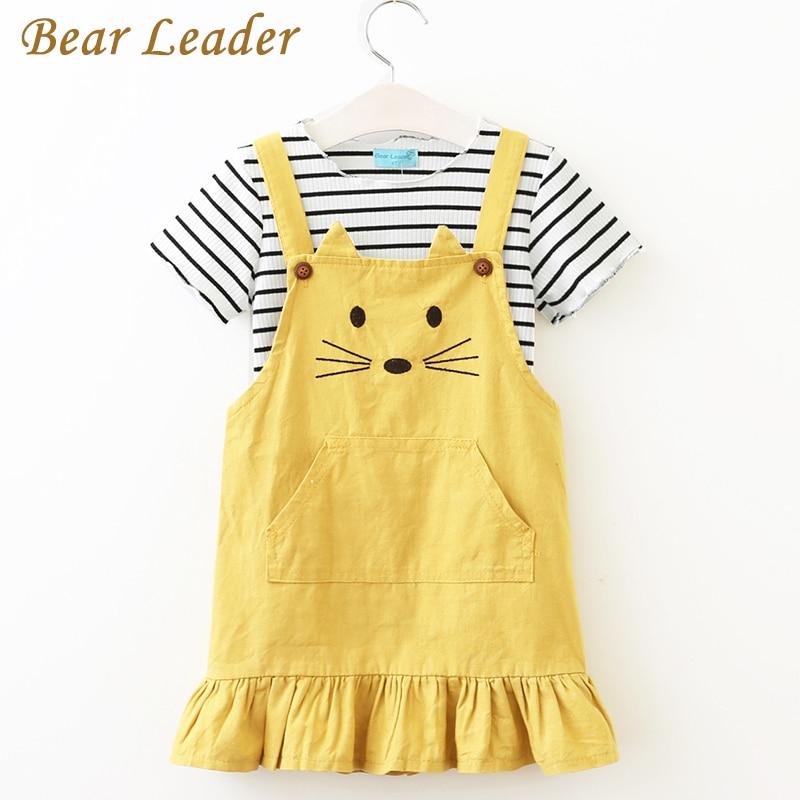 цена  Bear Leader Girls Sets 2017 New Children Clothing Strap Dress Sets Kids Clothes Pullover Striped Shirt+Dress 2Pcs Suit Outwears  онлайн в 2017 году