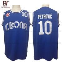 2017 Mens Cheap Throwback Basketball Jersey Drazen Petrovic 10 Cibona Croatia Jersey New Yugoslavia Blue Stitched