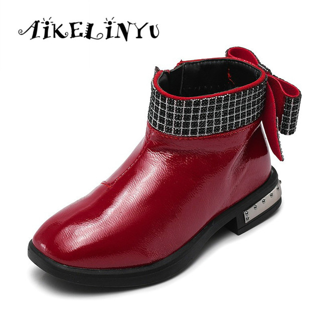 9a177ffd6 Baby Girl Boots 2018 Girls Autumn Winter Fashion Leather Boots Children Bow  Shoes Girls Snow Boots Kids Shoes Girl Cute Boots