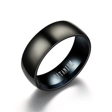 8MM Stainless Steel Ring Band Titanium Black Mens SZ 6 to 12 Wedding Rings Man