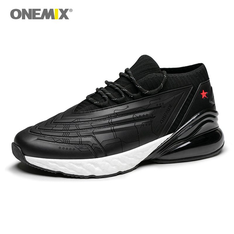 Onemix Men Road Running Shoes Gym Sneakers Lightweight Outdoor Walking Sneakers Black White Jogging Sneaker Plus size EU47 in Running Shoes from Sports Entertainment