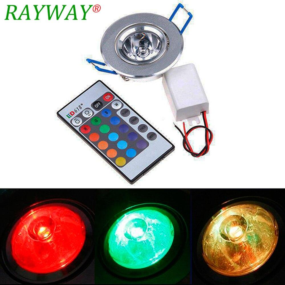 Rayway 3 Вт RGB светодиодный потолок Подпушка светильники встраиваемые светодиодный Spoting шарик красные, синие зеленый AC85-265V Алюминий лампы Лампы...