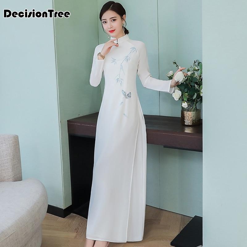 2019 Aodai Cheongsam Dress Traditional Oriental Clothing Ao Dai Dresses Short Lace Dress For Women Vietnam Qipao Dress