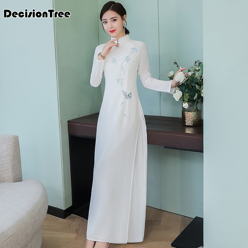 2019 summer aodai cheongsam dress traditional oriental clothing ao dai dresses short lace dress for women vietnam qipao dress