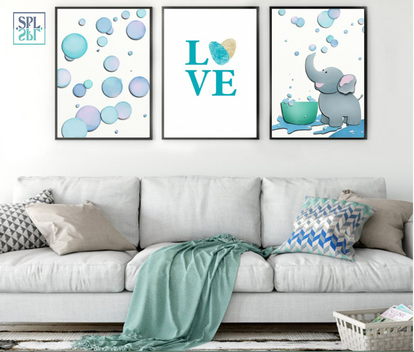 SPLSPL Frameless Creative Wall Pictures Cartoon Elephant Animals Decoration Canvas Painting For Living Room