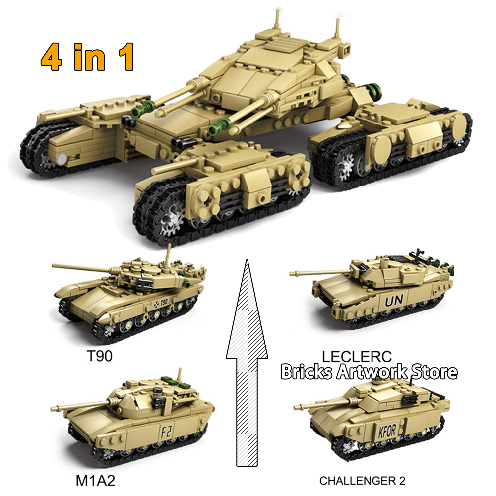1230 PCS KAZI 84042 5 4in1 Set Military Field Armored Chariot T90 M1A2 LECLERC MAMMONTH TANK Building Blocks Toys for Kids Gift