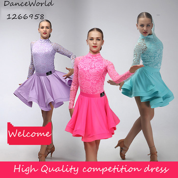 high quality 2018 new lace long sleeve latin dance dress for girl competition latin dresses 110-165cm bodysuit with skirt
