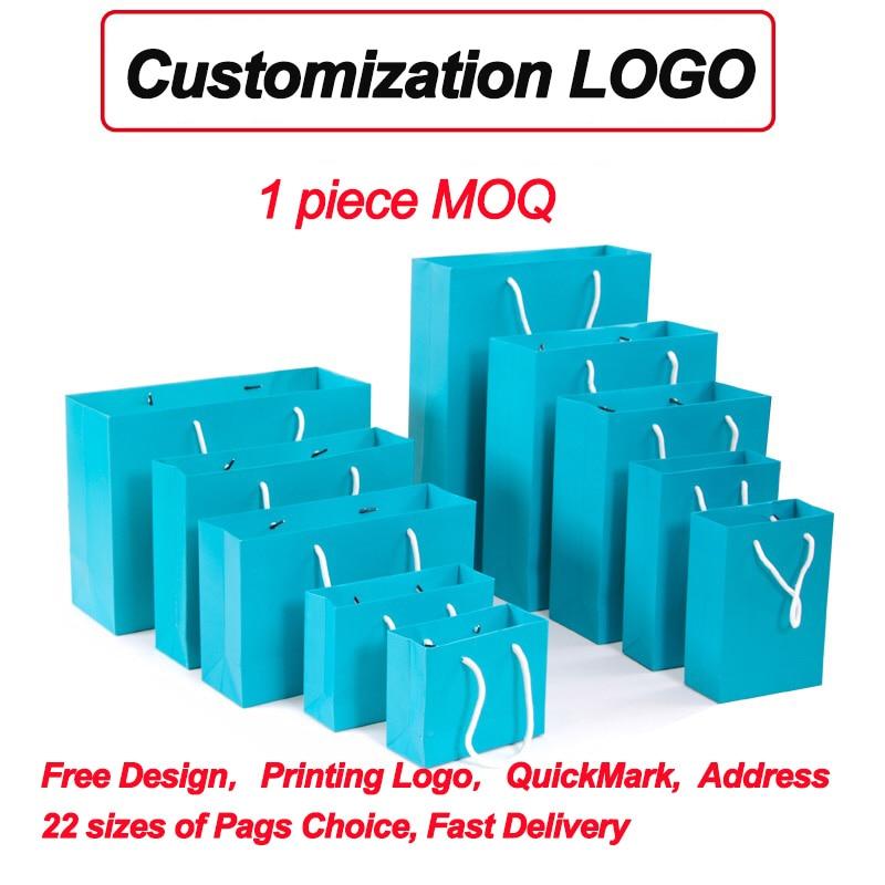 Marque célèbre avec votre propre logo cadeau de mariage personnalisé imprimé marque artisanat papier Kraft sac 5 couleurs