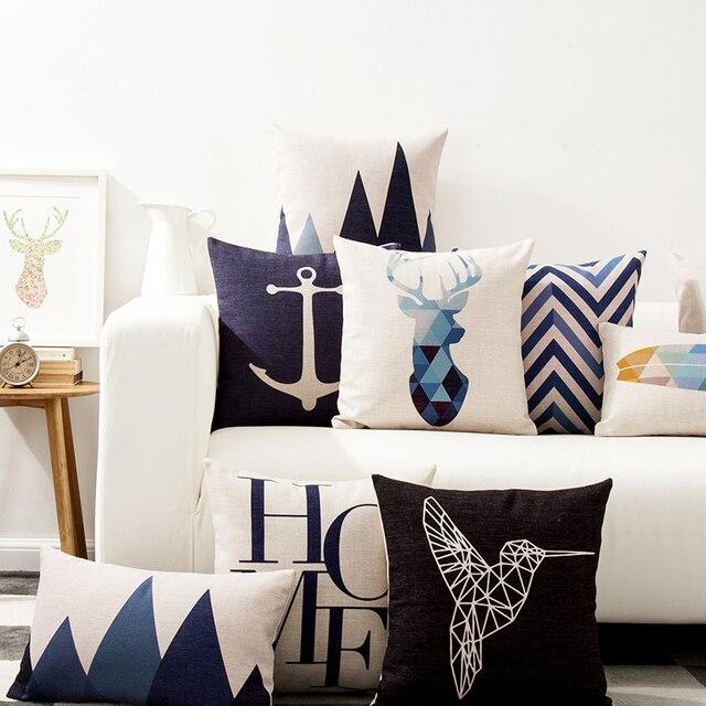Decorativo caso cuscini geometrico colorato animali deer nordic style cotone lin