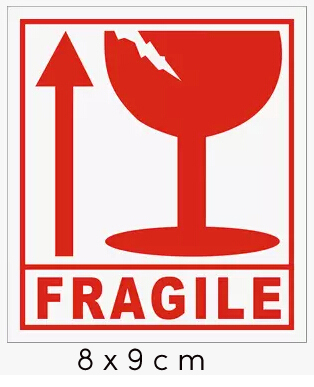 free trackable shipping 80*90mm shipping label in english fragile