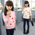 Children of ew autumn clothes solid girl decals sleeve knit pullover thickening with coat sweater WER16