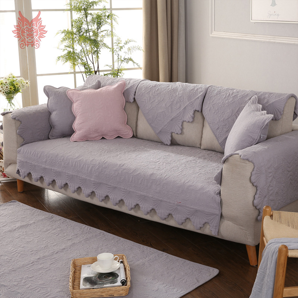 Korean style blue pink grey floral qulited cotton sofa covers slipcovers for room fundas de sofa sectional couch covers SP5040