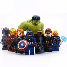 8Pcs Iron Man & Hulk & Thor & Captain America Characters Human Model Building Blocks Figure Toys For Children Compatible Legoe