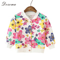 2016 Baby Girls Jacket Coats Kids Printing Flower Coat Autumn Long Sleeve Jacket For Girls Children Outerwear Clothing