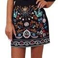 Старинные 90-х Вышивка Юбки Женщин Цветочные Печатный Высокая Талия Осень Зима Мода Мини-Линии Юбки Черный 2016 Femme
