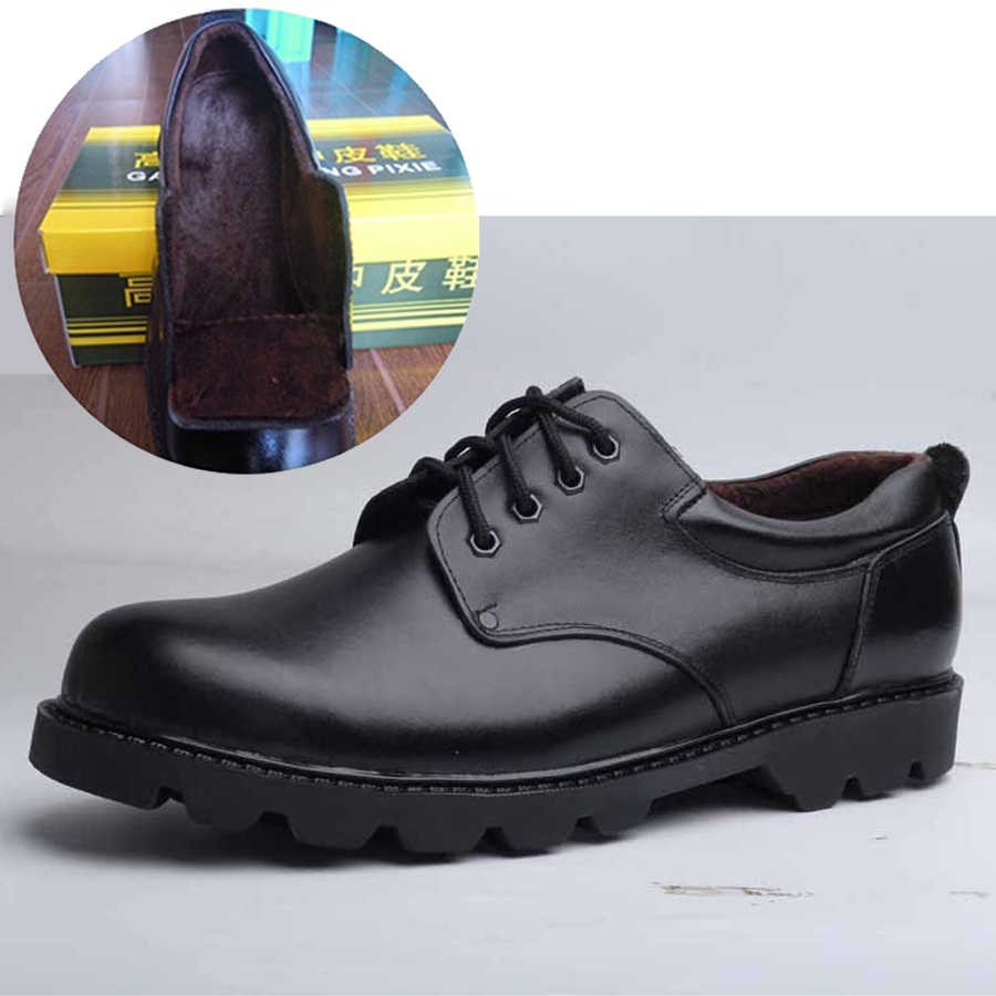 รองเท้าบุรุษขนาดใหญ่สบายๆอังกฤษหนังผู้ชายรองเท้า Officer วัว Leatrher รองเท้าผู้ชายฤดูหนาว WARM FUR Plush สีดำ