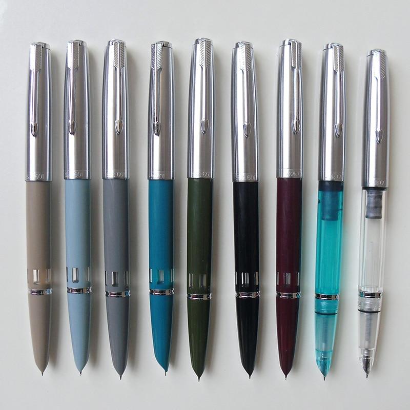 Ala Sung 601 de 0,5mm punta fina Vacumatic pluma fuente de Metal + cuerpo de ABS tapa de plata