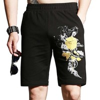 New Fashion Rose Stamping 3D Floral Printed Shorts Men Casual Fitness Boardshort Straight Elastic Waist Beach Clothes Plus Size