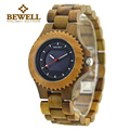 BEWELL Fashion Brand Men Wood Quartz Watches Solar Luminous Pointers Push Button Hidden Clasp Relogio Masculino Watches 074A