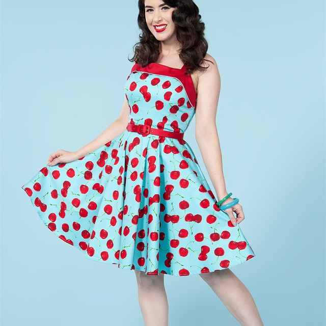 summer women vintage 1950s blue cherry print golightly netti swing dress  rockabilly pinup vestidos plus size dresses jurken f331cbc7c219