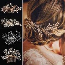 Tocado de moda de boda occidental para novia hecho a mano corona de boda Floral con perlas accesorios para el cabello adornos para el cabello