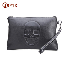 JOYIR Genuine Leather Men Clutch Bag Skeleton Skull Black Envelope Fashion Luxury Handbag Big Purse iPad