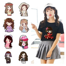 Shidao Cartoon Girl Heat Transfer Vinyl For T-Shirts Iron On Transfers Patches For Clothing Thermal Transfer Sticker Washable parches cartoon cat heat transfer vinyl for t shirts iron on transfers patches for clothing thermal transfer sticker washable e