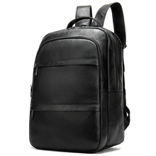 купить New Arrivals Genuine Leather Men Business Backpack Large Capacity Male Shoulder Bag High Quality Cowhide Man Backpack Travel Bag дешево