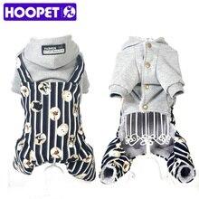 Hoopet perro de mascota mono abrigos raya tirantes de algodón acolchado ropa de la historieta ropa de impresión