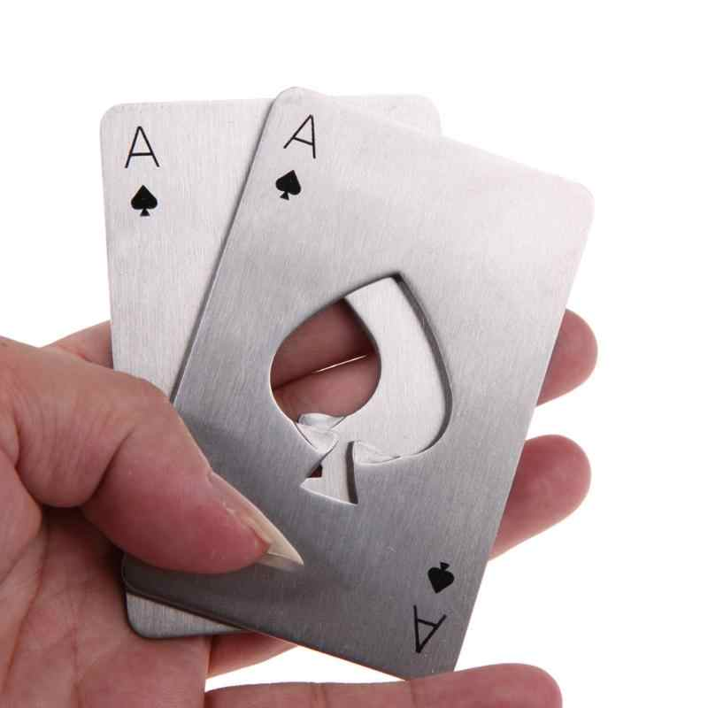 Portable Poker Shape Bottle Opener Stainless Steel Playing Card Ace Soda Beer Cap Opener Creative Bar Tools Drinking Accessories