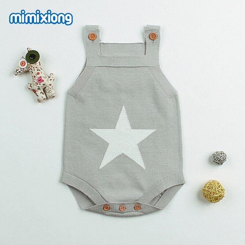 Star Crochet Body For Newborns Boys Bodysuits Bebe Sleeveless Overalls Blue Strap Kids Girls Sunsuits Summer Knit Toddler Onesie