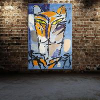 Graffiti Animal Tiger Cartoon Abstract Madeleine PYK Oil Painting Spray Canvas Unframed Frameless Design Miniature Kitchen
