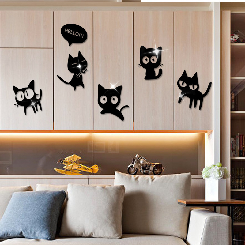 3d Funny Cats Mirror Surface Wall Sticker for Kids room ...