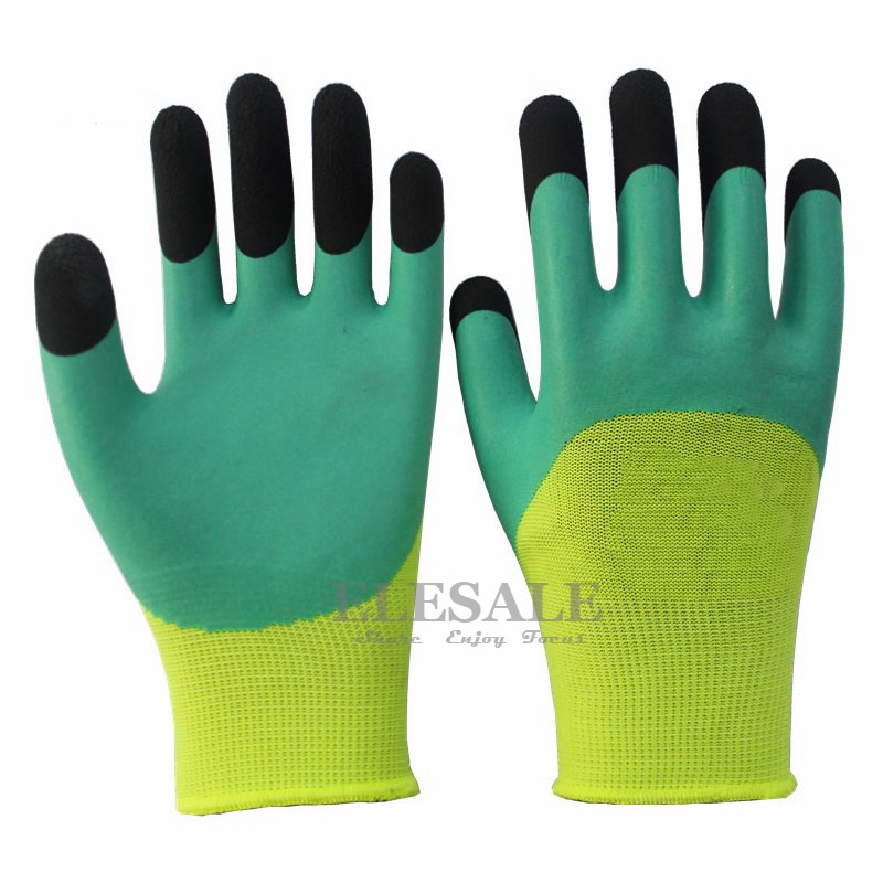 New Working Gloves Latex Half Coated Wrinkle Anti-skidding Breathable Nylon Gloves For Garden Builder Worker Hands Safety цена