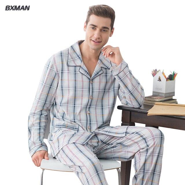 43b4b82b6c BXMAN Marca Hombres Pijamas Conjuntos de Pijamas Primavera 95% Algodón A Cuadros  Dan Vuelta-