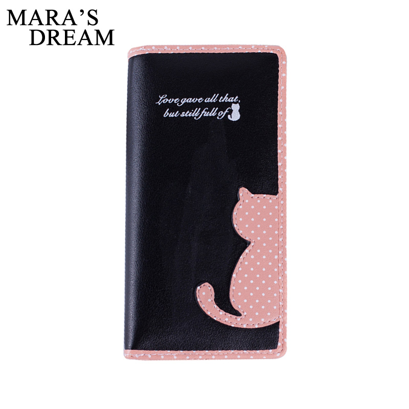 Mara's Dream 2017 New Women Wallets Long Section Female Cute Cat Hit Color Wave Point Zipper Wallet Student Purse women long wallet cat zipper