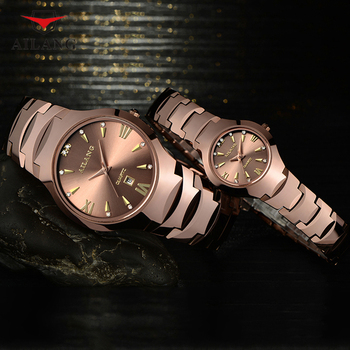 Classic Business Design Couples Watches Quartz Lovers Tungsten Steel Dress Wristwatch Vintage Roman Watch Calendar Analog Reloj